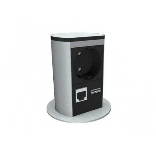 Elevator 1x230V+1xCat5+1xUSB incl 0,3m stroom + 2x 3m data kabel