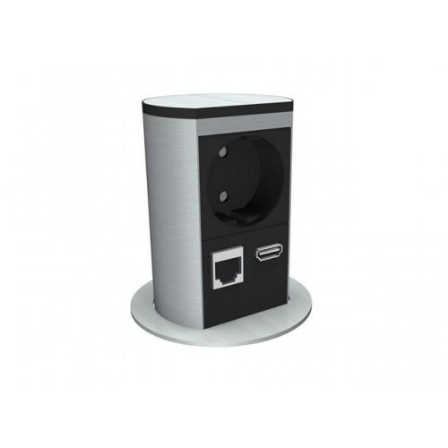 Elevator 1x230V+1xCat5+1xHDMI incl 0,3m stroom + 2x 3m data kabel