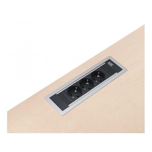 Powerframe contactdoos NL zilver 3x230V