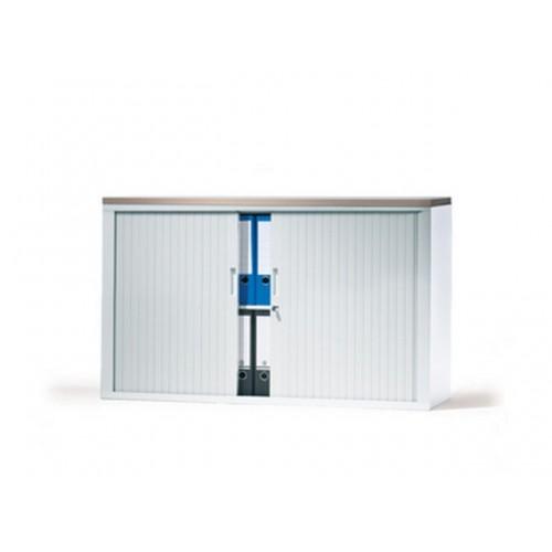 V-store roldeurkast 105x120x42 aluminium lamellen incl 4 legborden